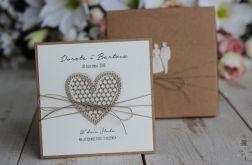 Rustykalna kartka ślubna z pudełkiem 15