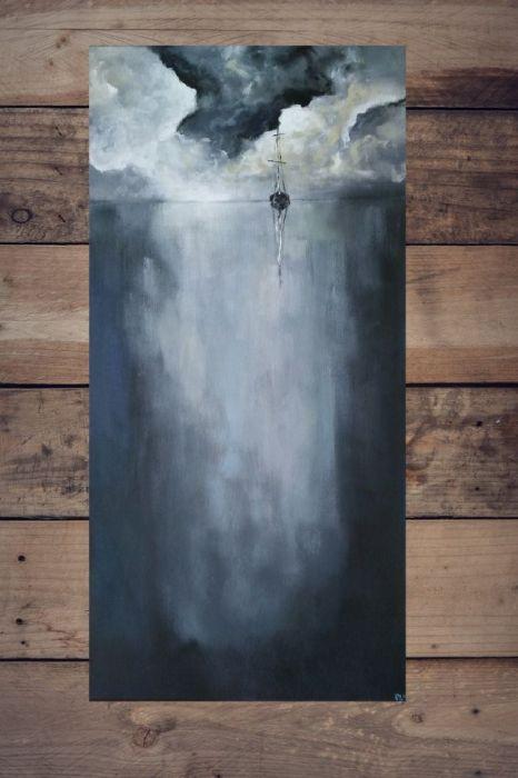 Samotna łódź  -obraz akrylowy 30/60 cm