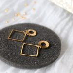 Kolczyki romby z serii Relva - Kolczyki złocone geometryczne