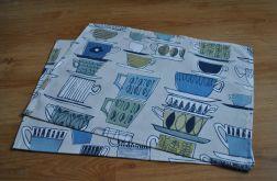 2 podkładki pod talerze - niebieskie filiżanki