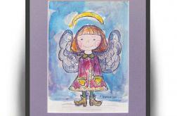 Zimowy aniołek - 4, akwarela