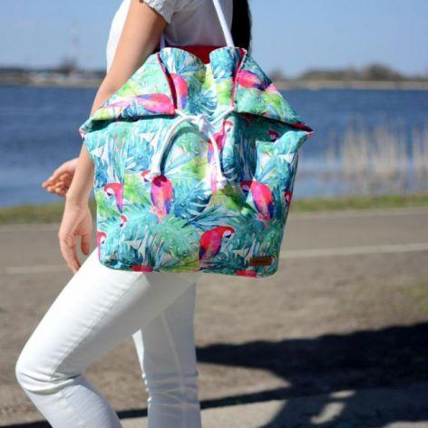 duża torba na plażę, wodoodporna w papugi