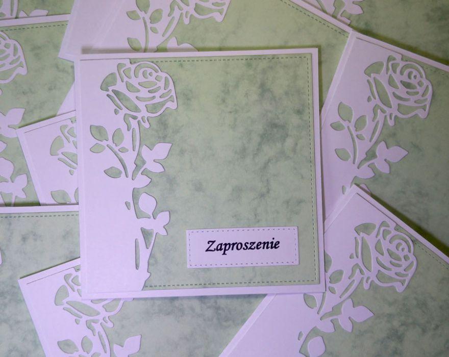 Zaproszenia z różą (bez kopert) - zaproszenia bez kopert