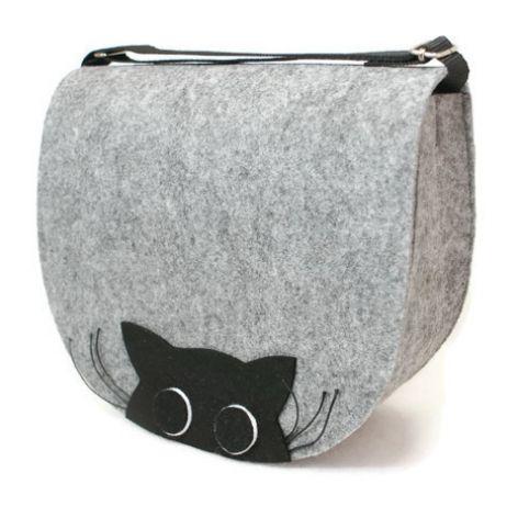 Torebka z filcu z kotem z wąskami