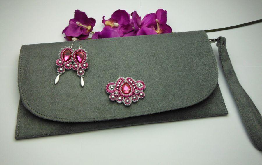 Biżuteria wizytowa sutasz kopertówka szara