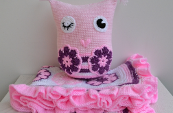 Kocyk i poduszka przytulanka sowa