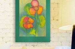 Rysunek kwiaty na ciemnozielonym  tle nr 10