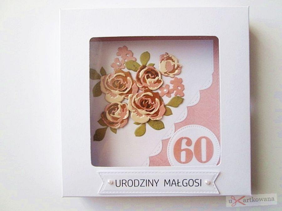Kartka NA URODZINY łososiowo-brązowe róże - Biało-łososiowa kartka urodzinowa z różami