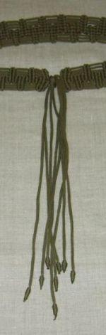 makrama pasek oliwkowy wiązany
