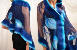 Piękny szal jedwabny niebiesko turkusowy