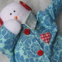 Bałwan w stylu Tilda w niebieskim