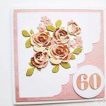 Kartka NA URODZINY łososiowo-brązowe róże - Kartka na urodziny - łososiowo-brązowe róże