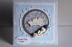 Kartka na Chrzest aniołek niebieska