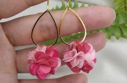 Kolczyki różowe mauve brudny róż antyczny