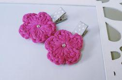 spinki handmade 2 szt. kwiatki szydełkowe