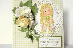 Kartka urodzinowa - żółta z Tildą