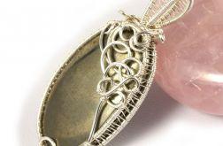 Piryt, srebrny wisior z kaboszonem pirytu