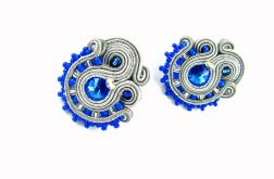 Kolczyki mini kobaltowe szare eleganckie