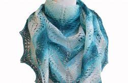 W odcieniach turkusu -ciepła duża chusta