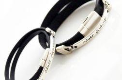 Dla zakochanych :) never give up skórzane bransoletki dla pary