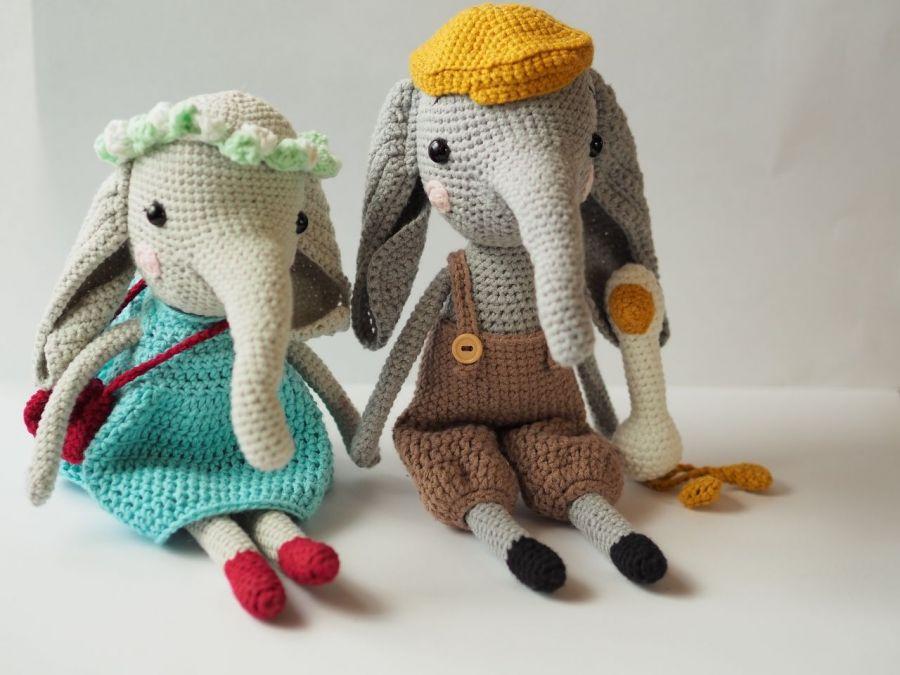 szydełkowa słonisia Marysia, szydełkowy słoń -