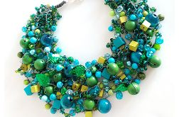 4889 naszyjnik kolia zielony niebieski