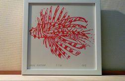 barwna grafika skrzydlica linoryt czerwona