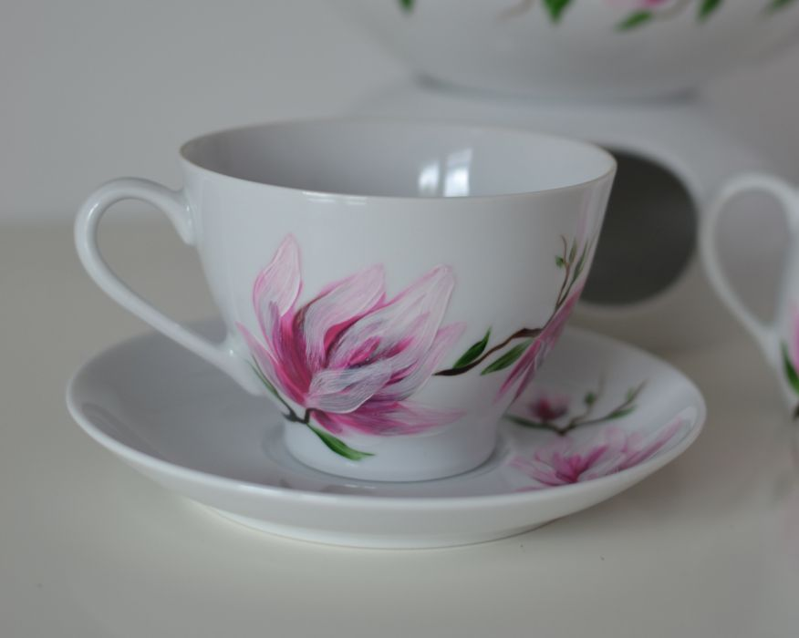 """Filiżanka 250 ml ze spodkiem """"Różowa magnolia"""" -"""