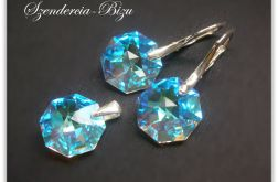 Komplet Swarovski Elements Octagon 14mm Blue AB