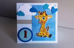 Kartka na Roczek ręcznie robiona żyrafa 2
