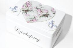 Ślubne pudełko na koperty Serca Szare