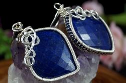 Lapis lazuli, srebrne kolczyki z lapisem