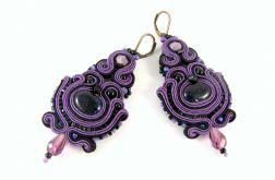Kolczyki fioletowe czarne sutasz boho