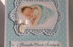 Kartka ze śpiącym chłopczykiem - chrzest
