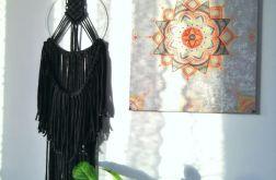 Makrama dekoracja boho czarna na obręczy