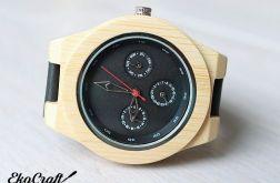 Drewniany, bambusowy zegarek z datownikiem