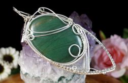 Srebrny wisior z kaboszonem nefrytu handmade