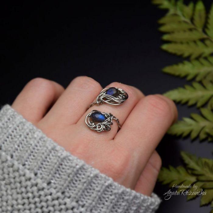 Regulowany pierścionek niebieski labradoryt - Rozmiar regulowany