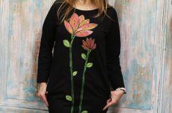 Sukienka Tunika Czerowny Kwiat