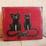 Pudełko malowane duże - Koty w czerwieni - koty czarne w karminie