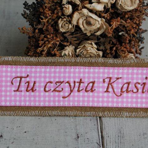 Personalizowana zakładka - różowa kratka