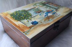 duża szkatułka z pejzażem i zameczkiem