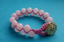 Kwarc różowy bransoletka makrama