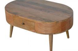 stolik kawowy ława z szufladami owal drewno