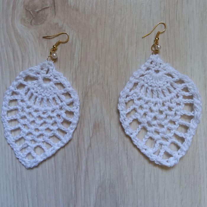 Kolczyki koronkowe białe -