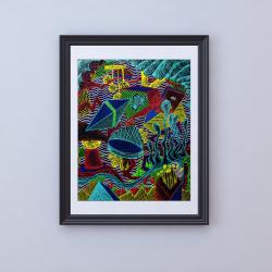 Plakat A3 kŁADZIEŁYKI. Kolorowy i dynamiczny