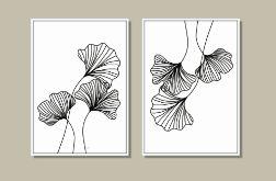 Grafika autorska, liście miłorzębu w zestawie, 2 sztuki