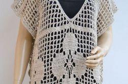 Tunika, sukienka narzutka oversize kolor lnu