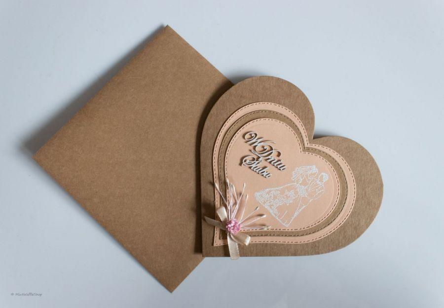 Kartka ślubna W dniu ślubu serce - Kartka