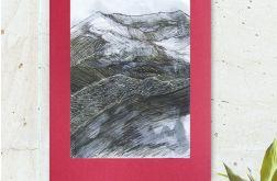 Czarno biały rysunek - szkic górski nr 21